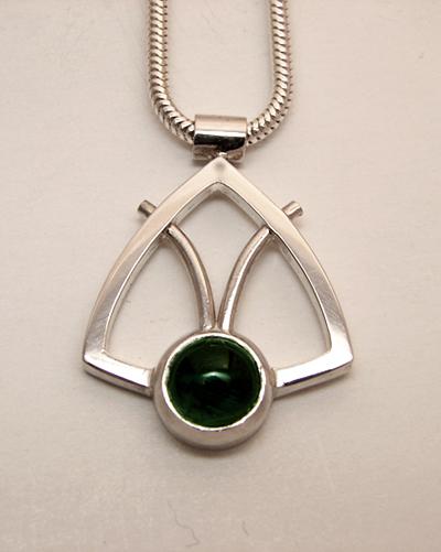 green tourmaline triangle Taurus Symbol Sterling SIlver.jpg