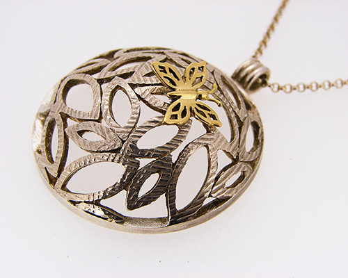 happiness is a butterfly on a leaf tree sterling silver 18ct yellow gold.jpg
