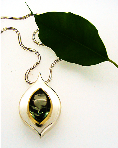 Leafy Pendent with Leaf Sterling Silver, 18ct Yellow Gold, prasiolite.jpg