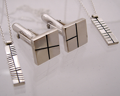 Ogham Pendent and Cufflinks, Sterling SIlver.jpg