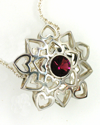 Silver Heartflower, Sterling Silver Concave Cut Pink Tourmaline.jpg