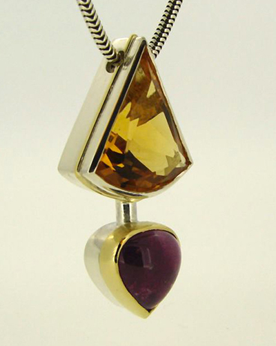 Tourmaline and Citrine Sterling Silver Pendent, 18ct Yellow Gold.jpg