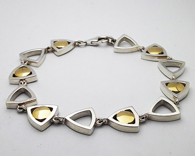 Golden Centered Bracelet Sterling Silver 18ct Yellow Gold Design Eile.jpg