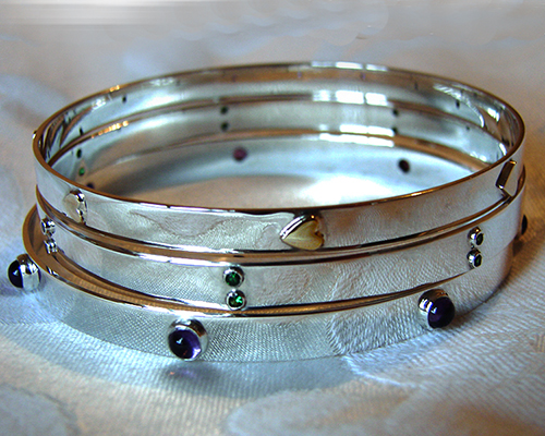 Sterling SIlver Bangles Amythest + Tsavorite Garnet + Hearts of Gold.jpg