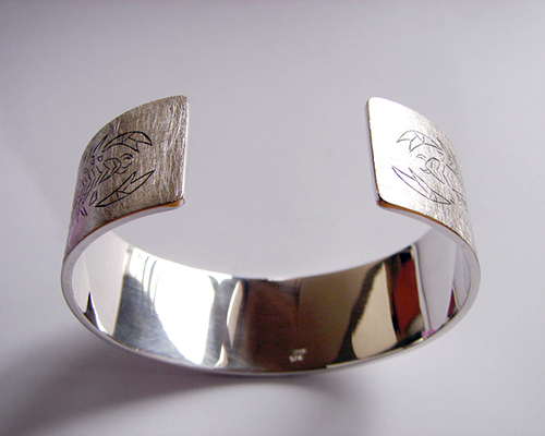 Sterling Silver Scorpian Bangle Cuff Hand Engraved.jpg