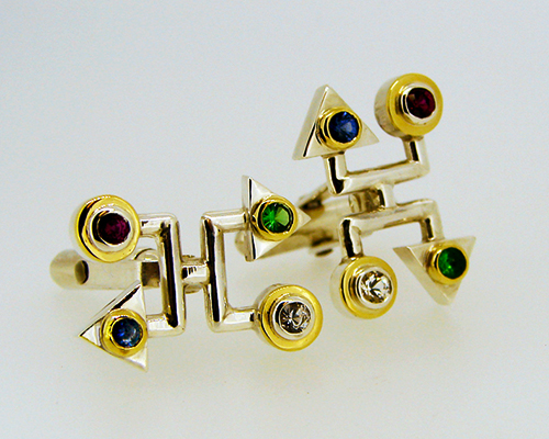 Family tree ancestory cufflinks Sterling Silver 18ct Yellow Gold Ruby Saphire Diamond Tsavorite Garnet.jpg