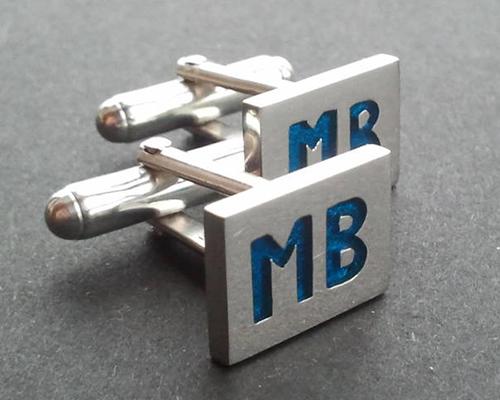 MB Blue Cufflinks Sterling SIlver Blue Enamel.jpg