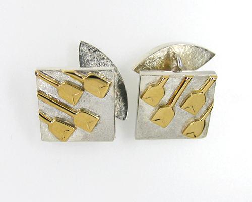Oars cufflinks Sterling Silver 18ct Yellow Gold.jpg