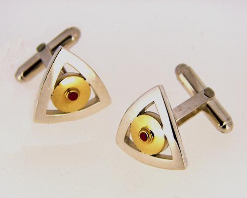 Ruby Sterling Silver, 18ct Yellow Gold golden center cufflinks.jpg