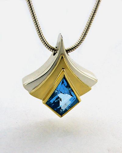 Art Deco Blue Topaz Fan