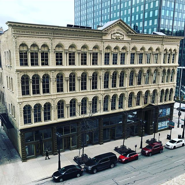 The Iron Block Building dates back to 1860. Dental Associates completed an extensive restoration for their new headquarters as of 2013 and it's stunning inside and out. #milwaukee  #realestate #development #restoration #noelrea #office #wisconsinave