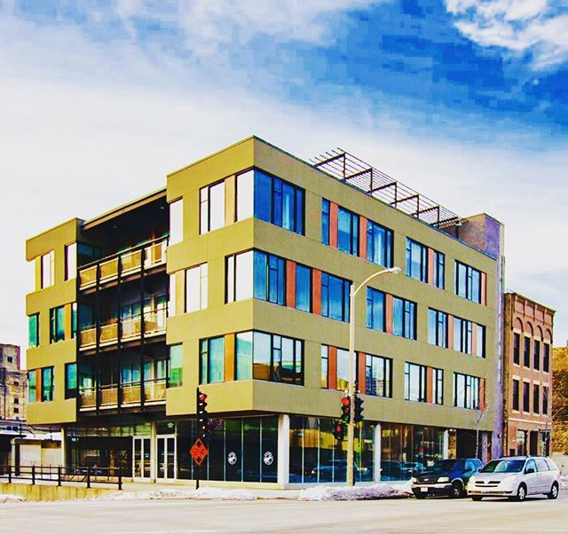ONE6ONE - 161 S 1st Street - Walker's Point. Modern office building with retail space available on the ground floor and a rooftop patio offering great views of the city. . . #realestate #milwaukee #walkerspoint #forlease #retail #noelrea #development