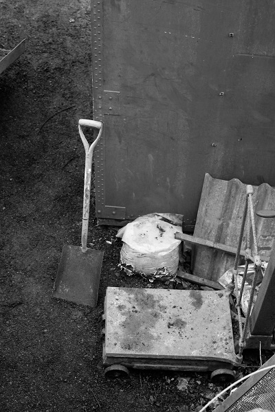 Shovel and scales.