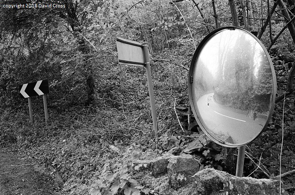 Road Mirror. Outside Coleford.