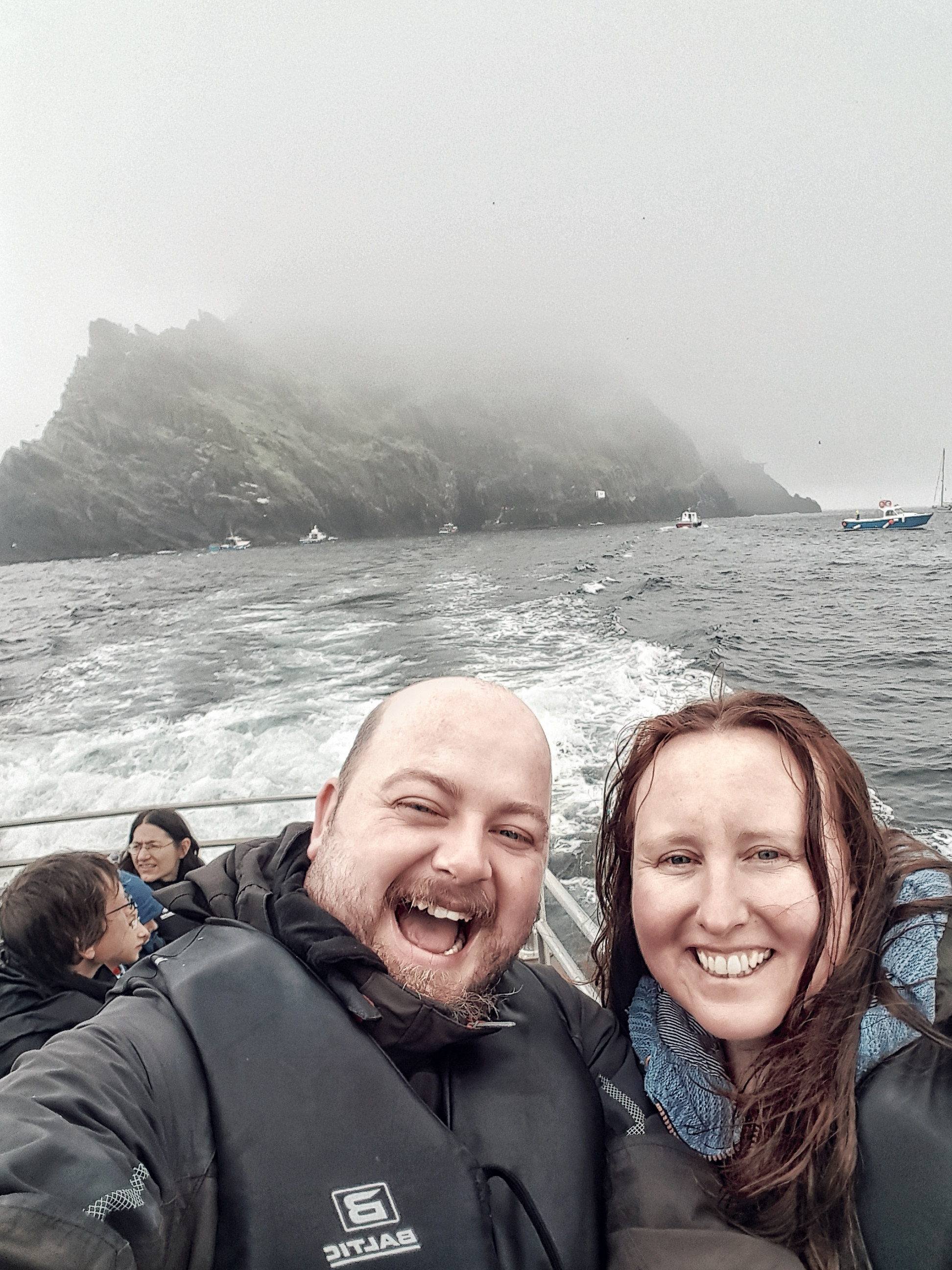 Soaking wet on the boat from Skellig Michael