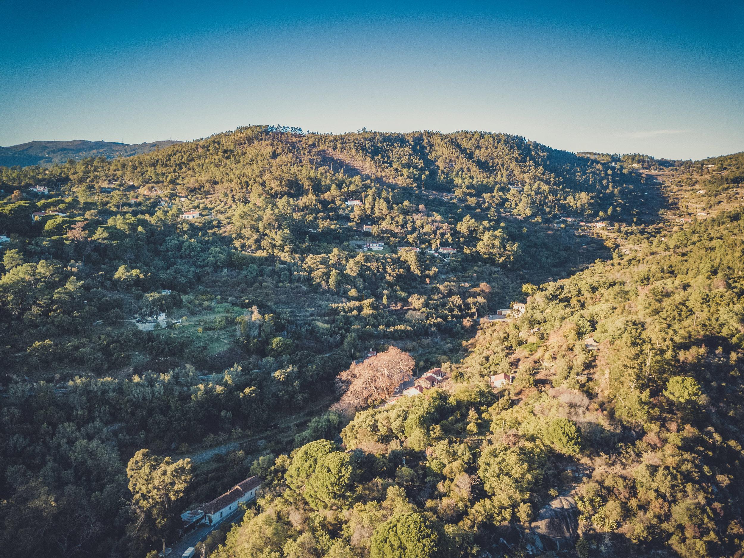 barbelote waterfall monchique portugal. hiking trail. walking trail. evil trees. lots of trees. cork trees. Drone shot.jpg