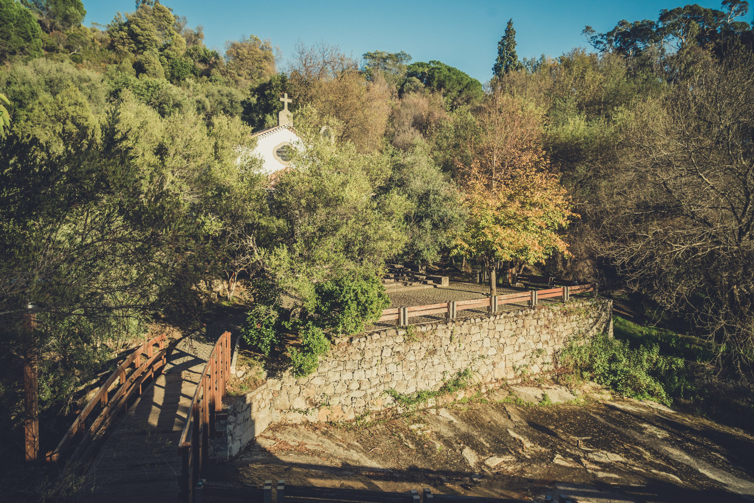 caldas de monchique portugal. walking through the forest. walking through the grounds of the spa. lovely setting. church in the trees.jpg