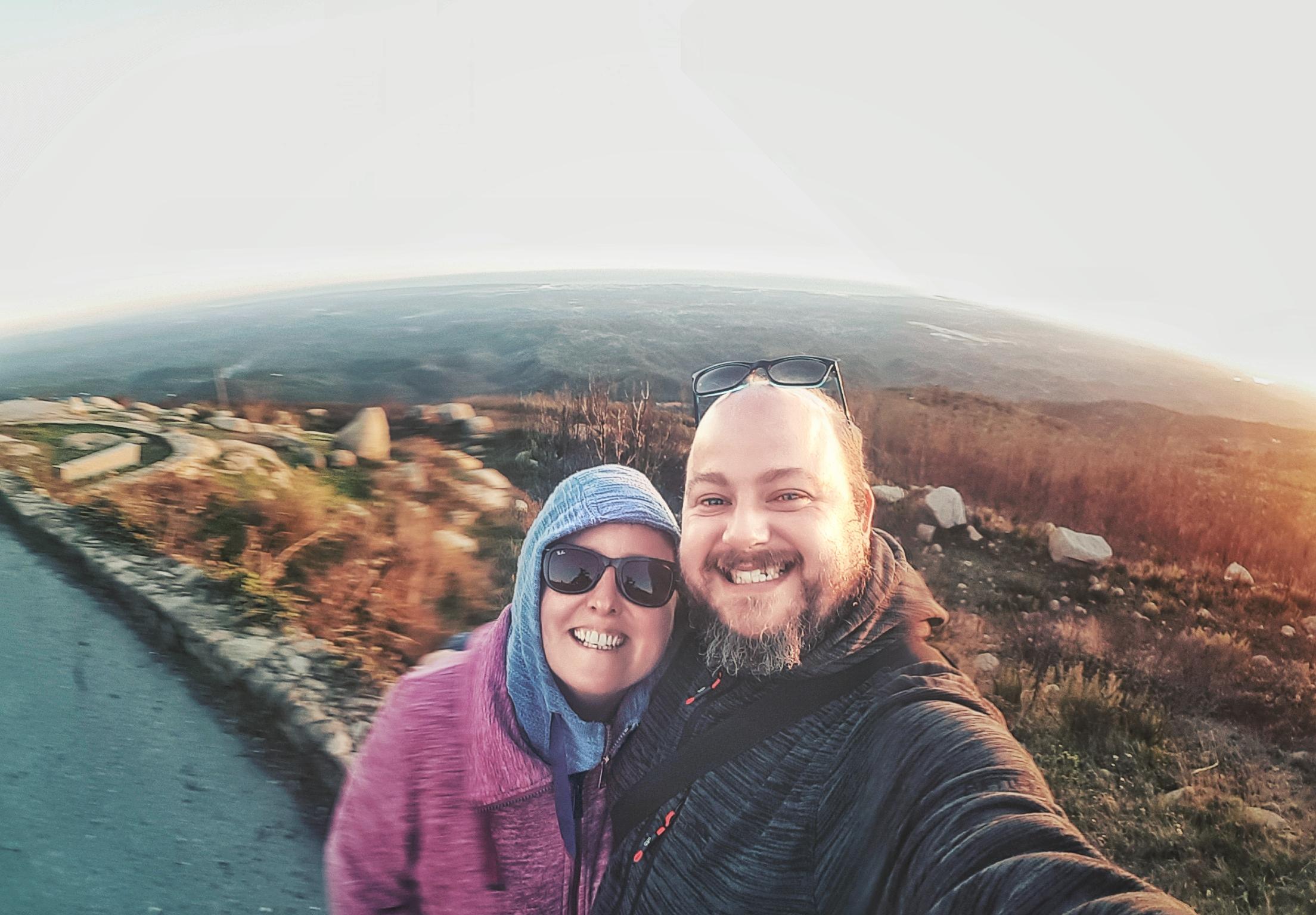 selfie at the top of the mountain. happy couple. golden light. samsung selfie. wide selfie..jpeg