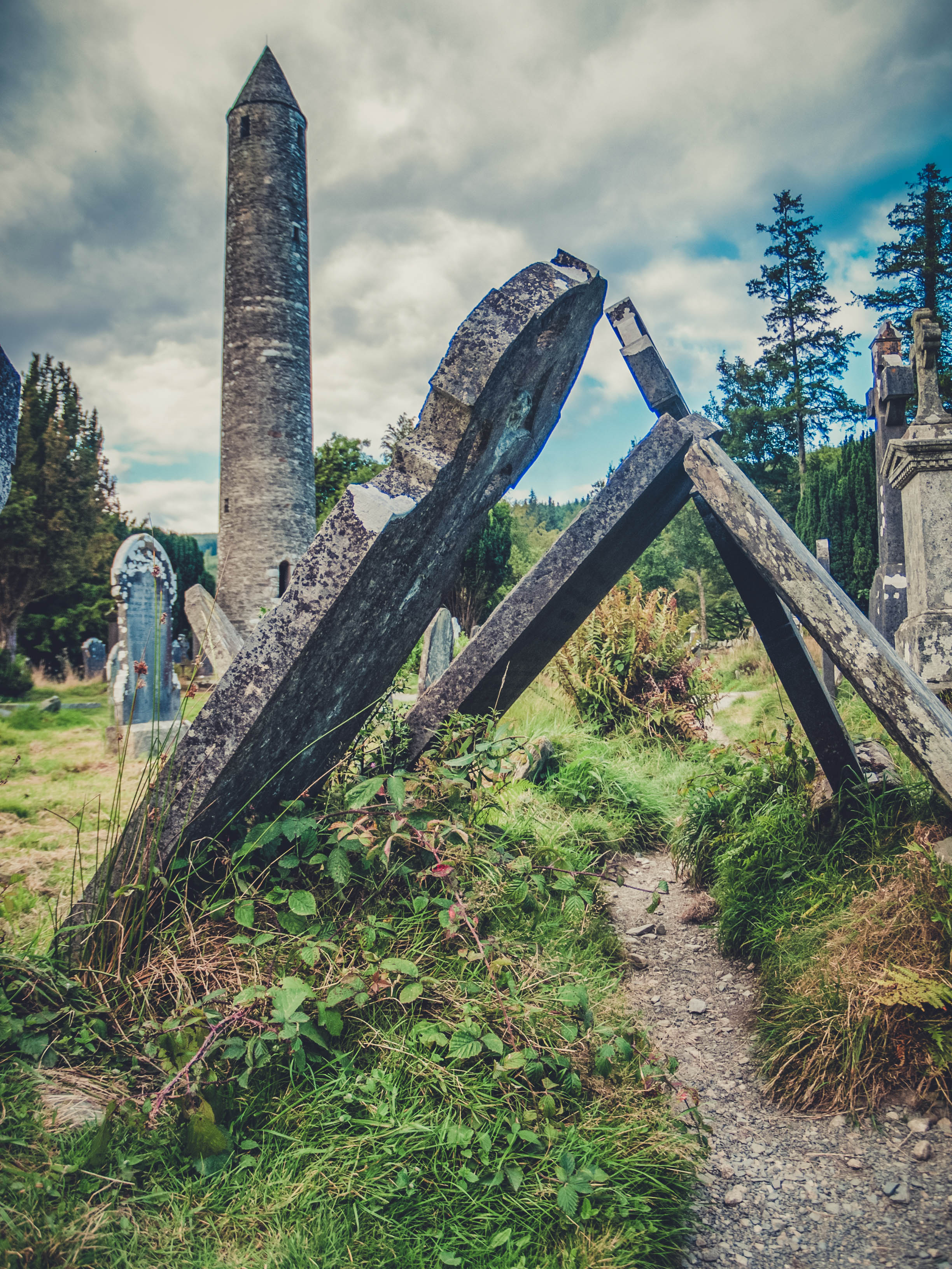 glendalough. irish history. county wicklow. round tower. hill walknig. hiking. grave yard. wildlife. tombstones. lakes. blue sky. old timely.jpg