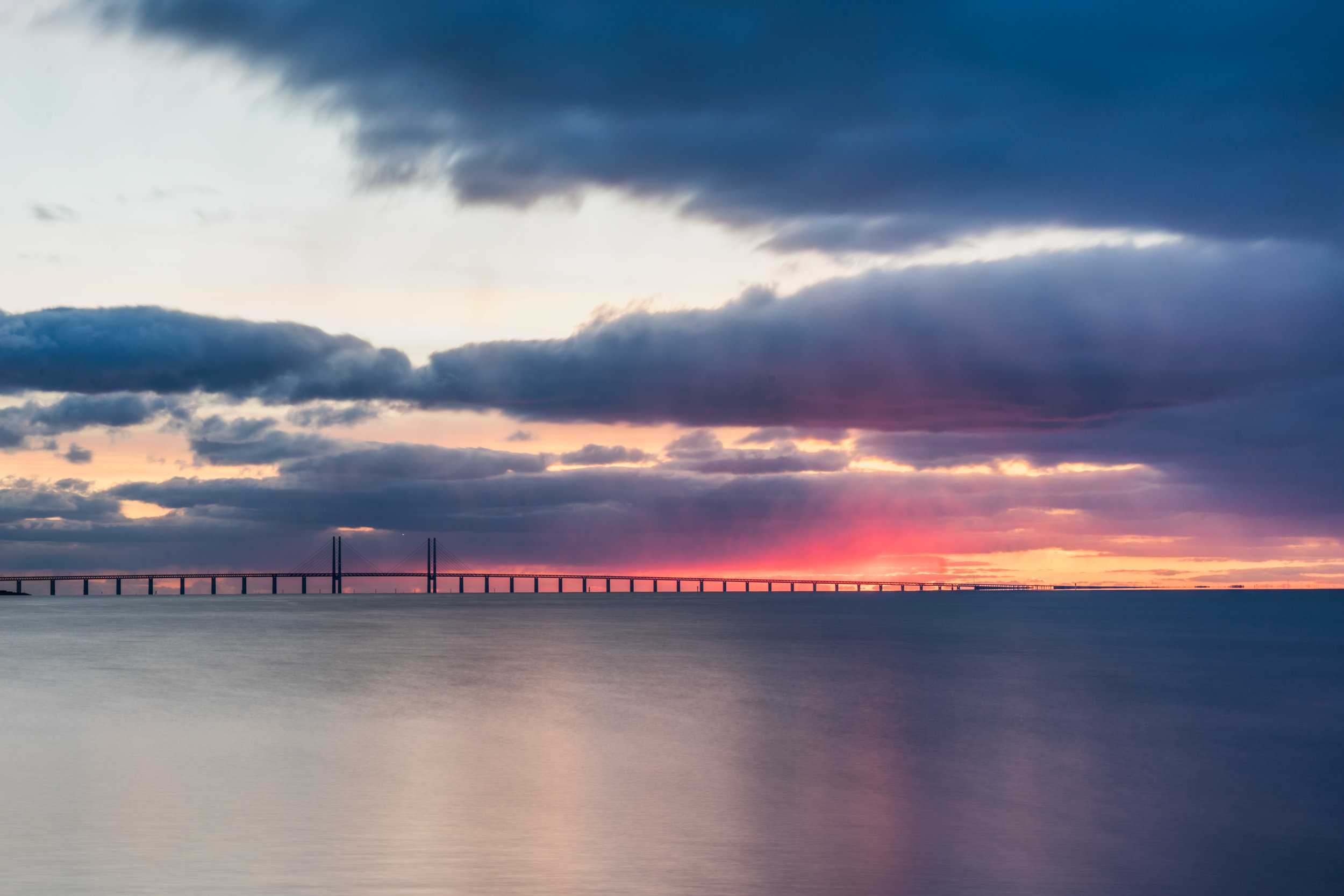Sunset at Oresund Bridge Malmo to Copenhagen