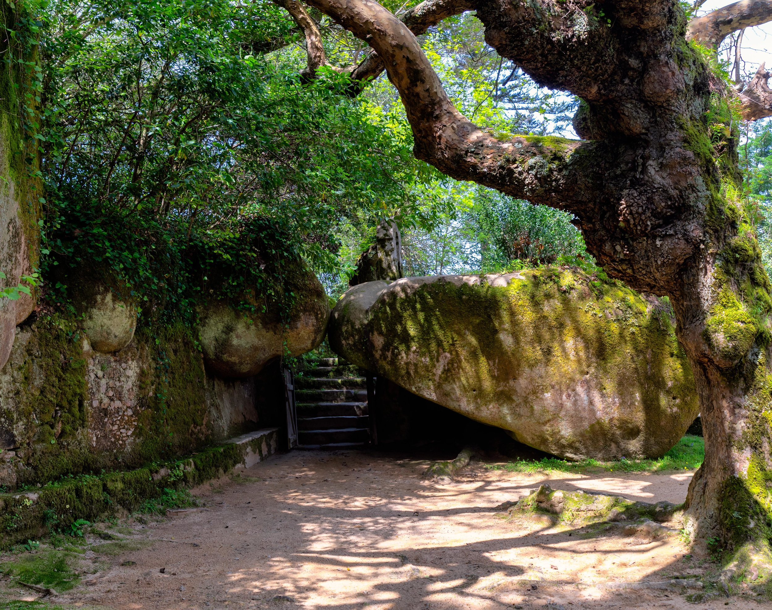 Portugal. Travel. Sintra. Sunshine. Hotel. History. view. room with a view. pena palace.  palace. town. old town. castle. castelo dos mouros. on the bridge. Convent of the Capuchos. tree.jpg