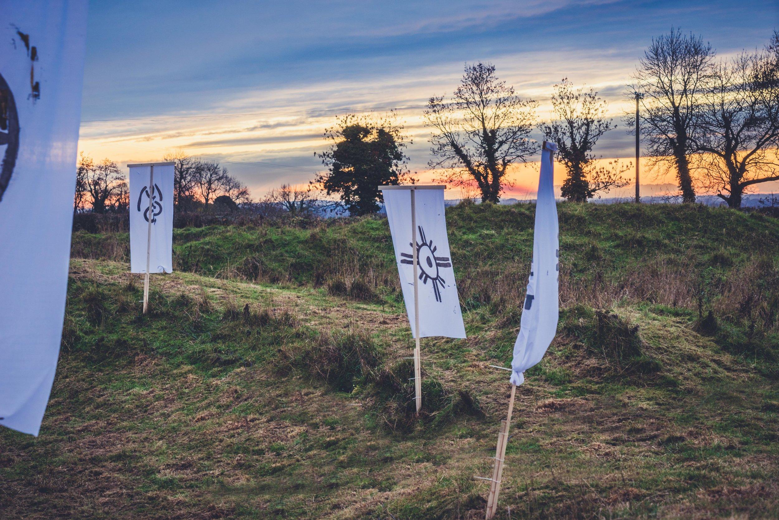 Tlachtga. hill of ward. ireland. irish. history. halloween. druid. flags in the sunset.jpg