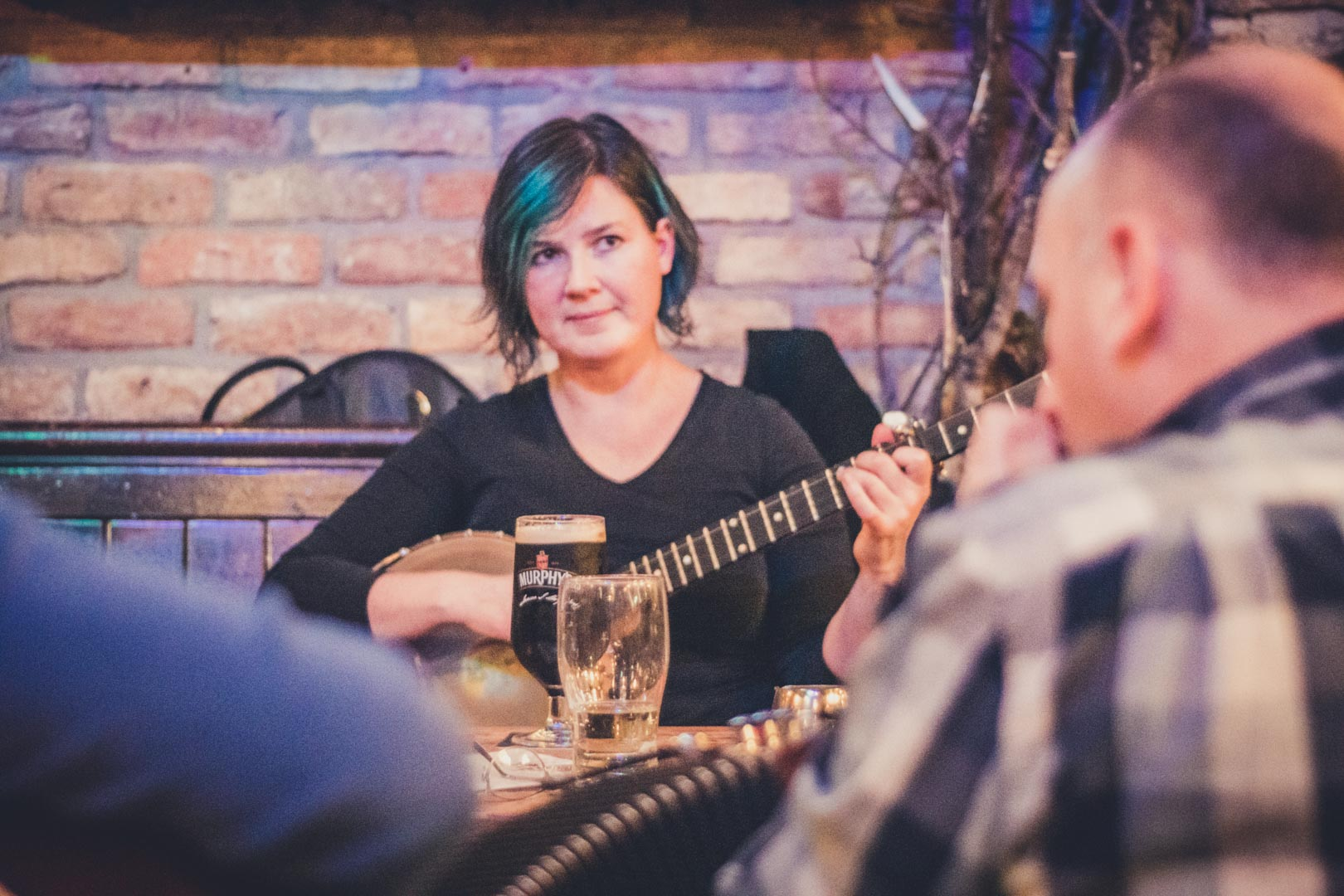 girl playing irish trad music