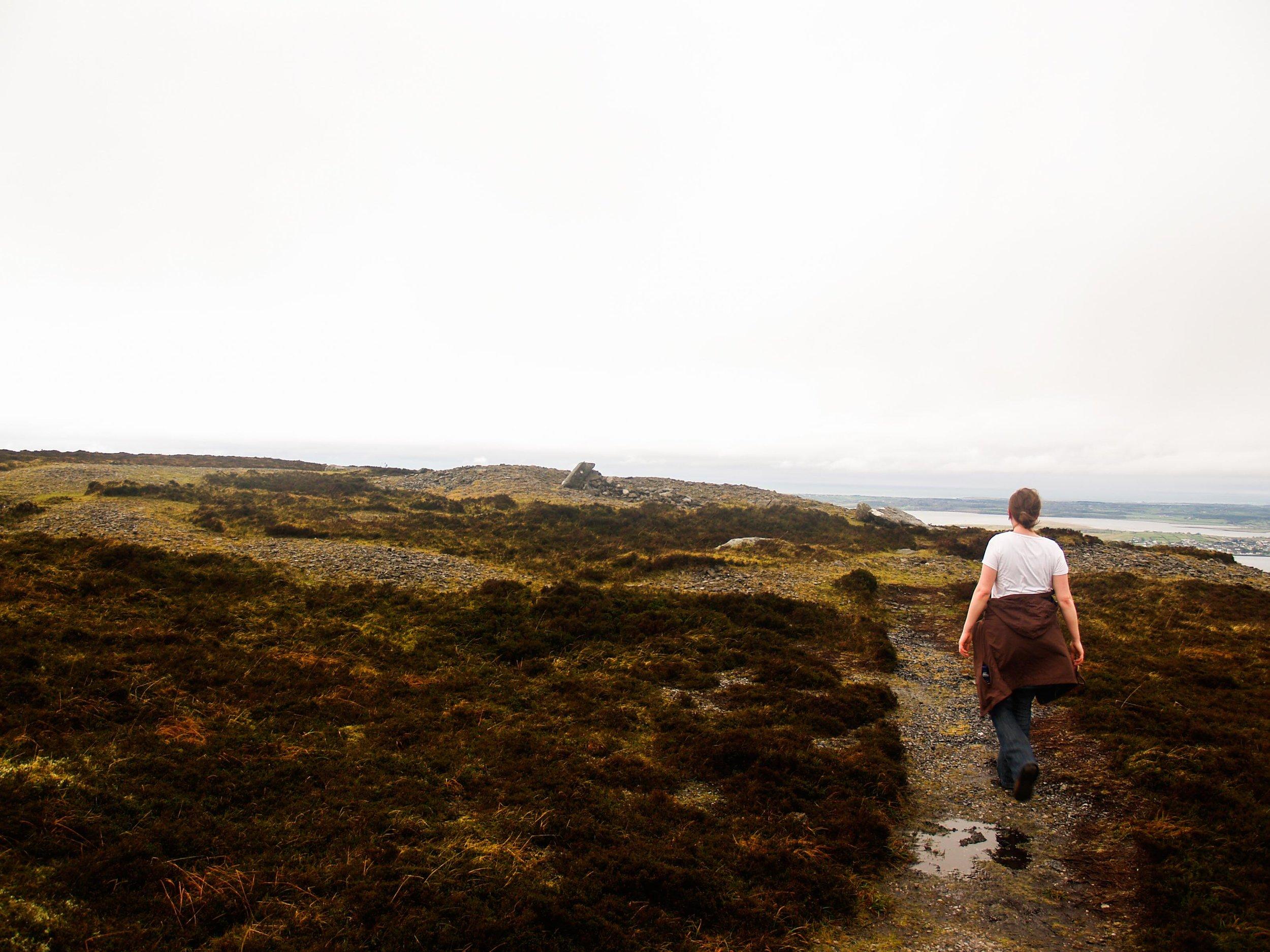hill walking girl