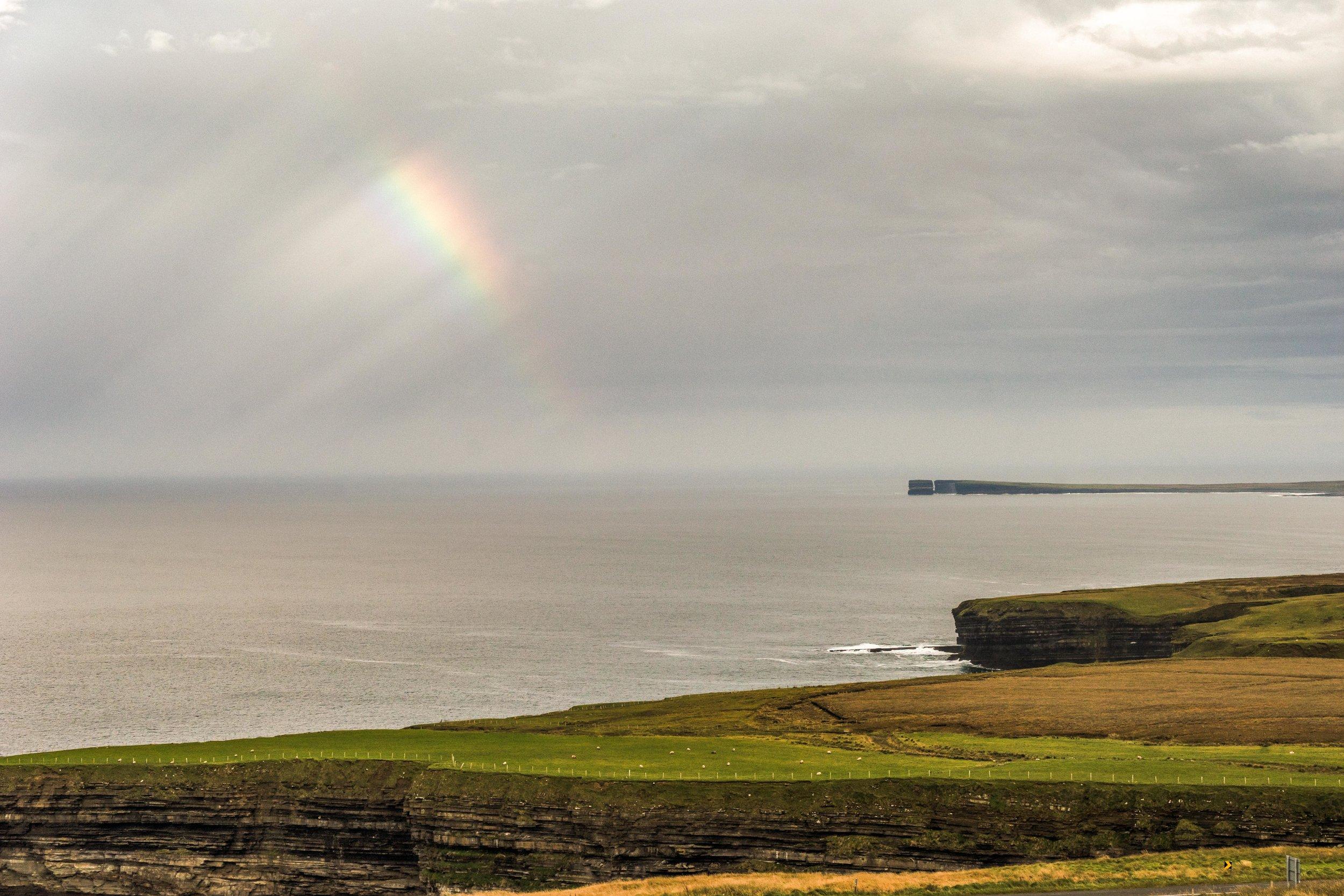 rainbow view look across at Downpatrick head