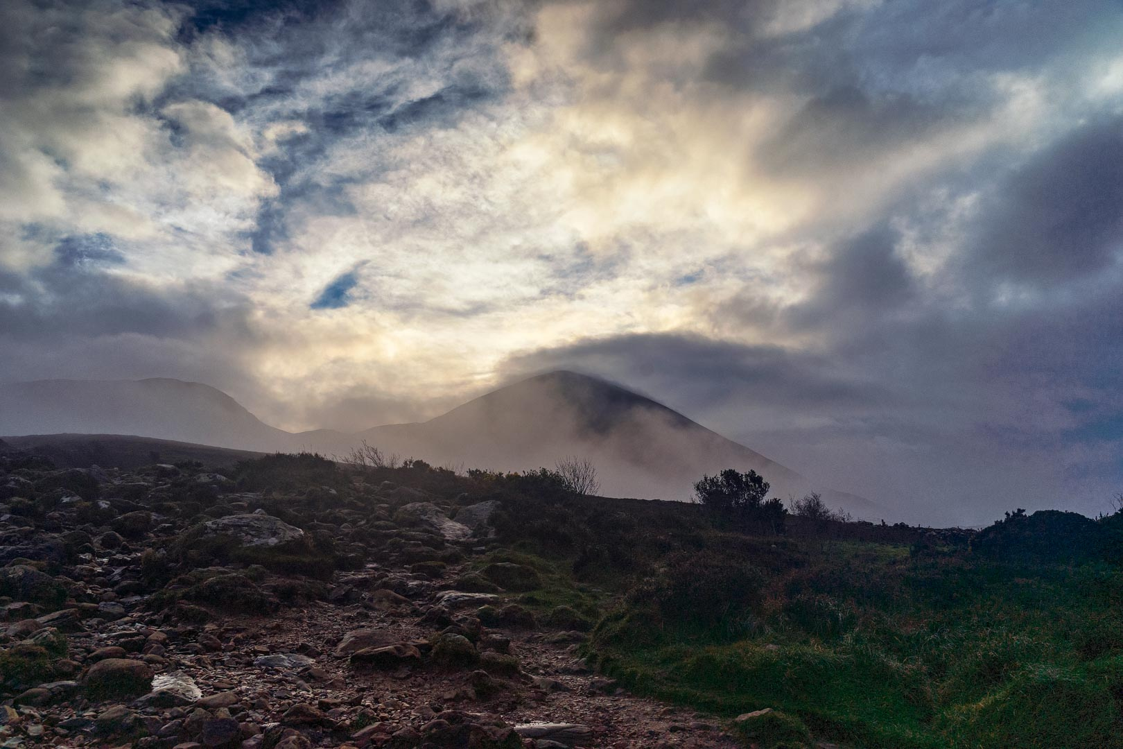 croagh patrick covered in clouds