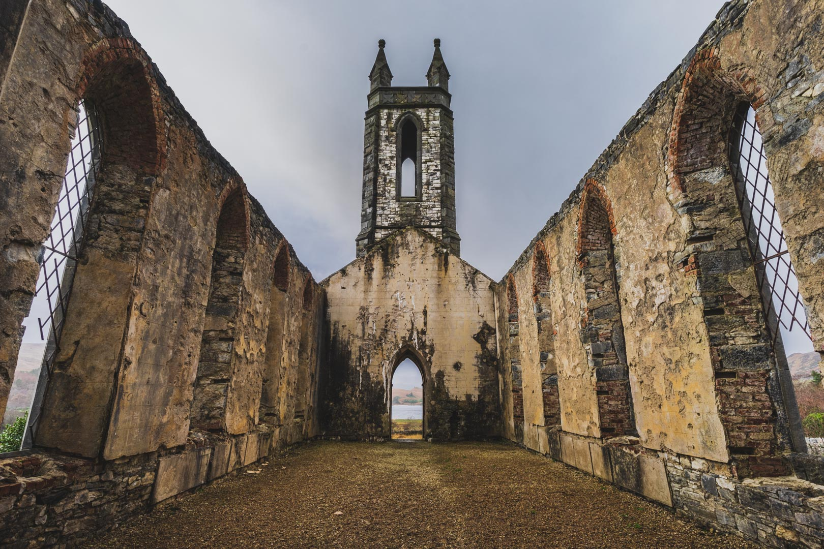 inside the ruins of an old irish church