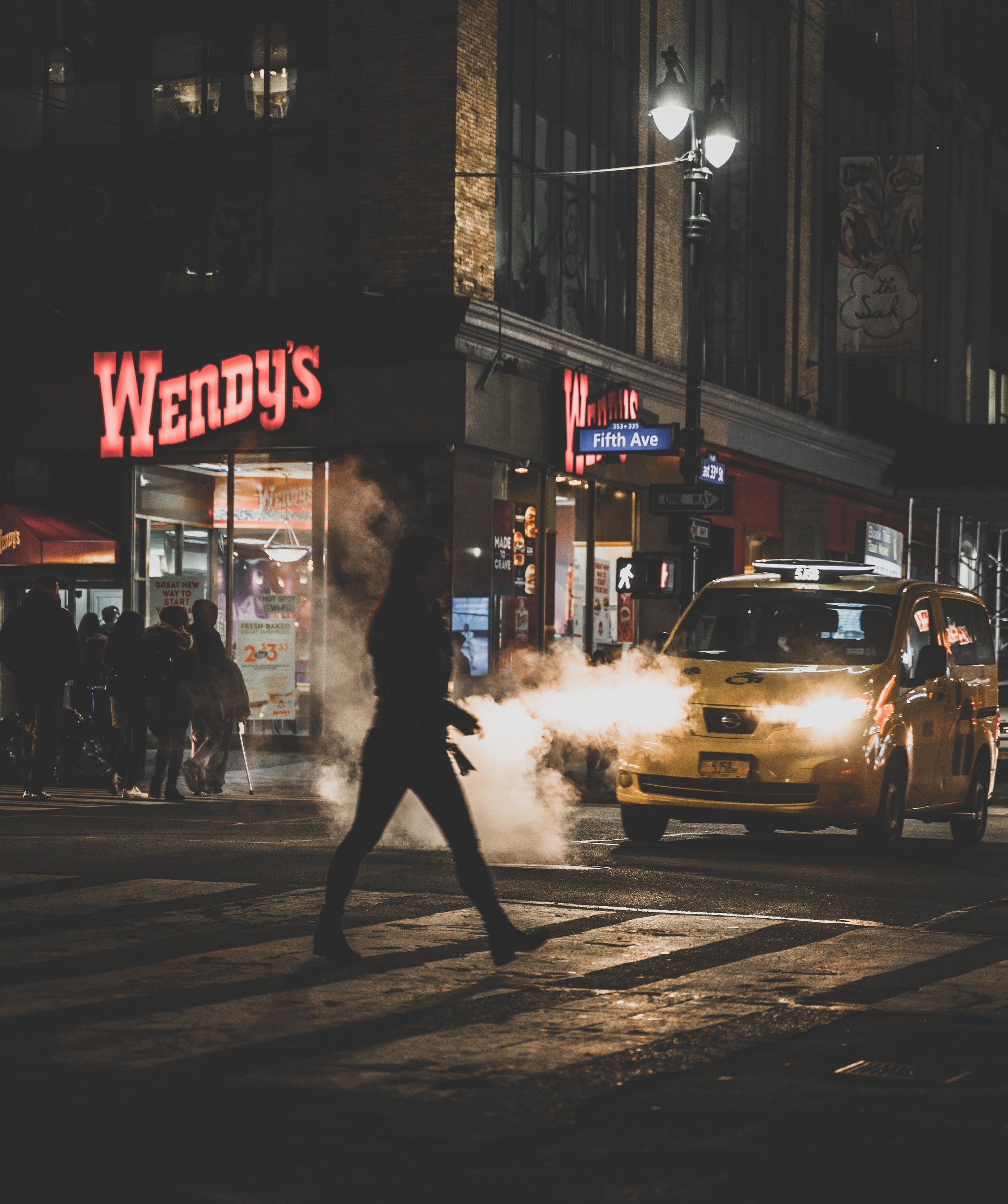 New York Yellow taxi with steam.jpg