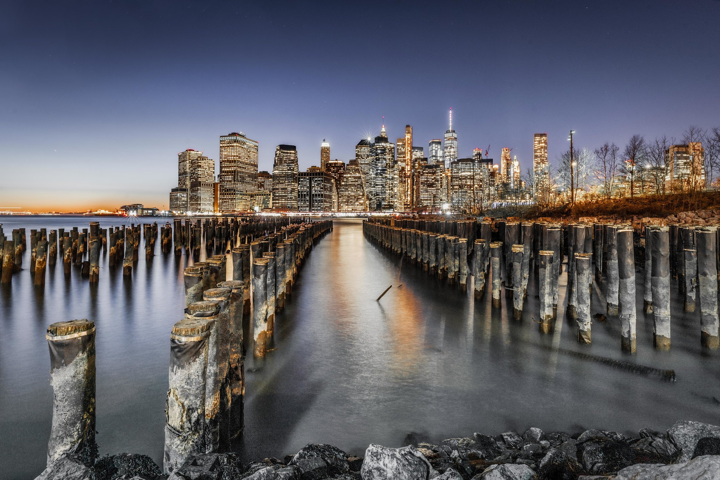 New York city Skyline. Brooklyn Pier 1