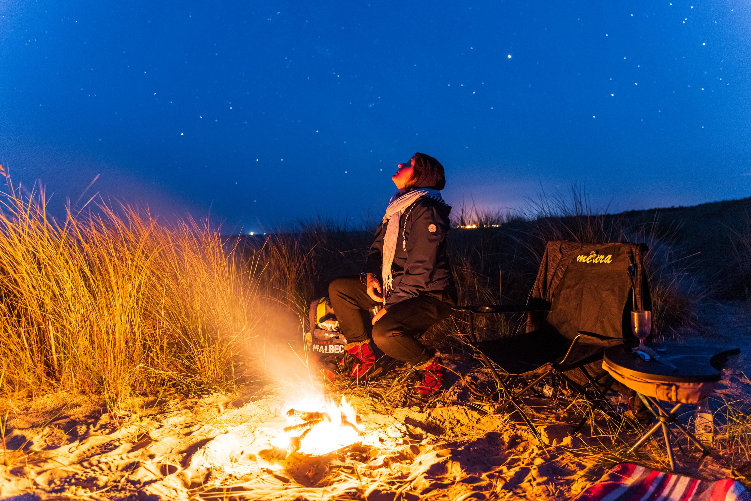The Raven forest and beach wexford ireland campfire girl under stars.jpg