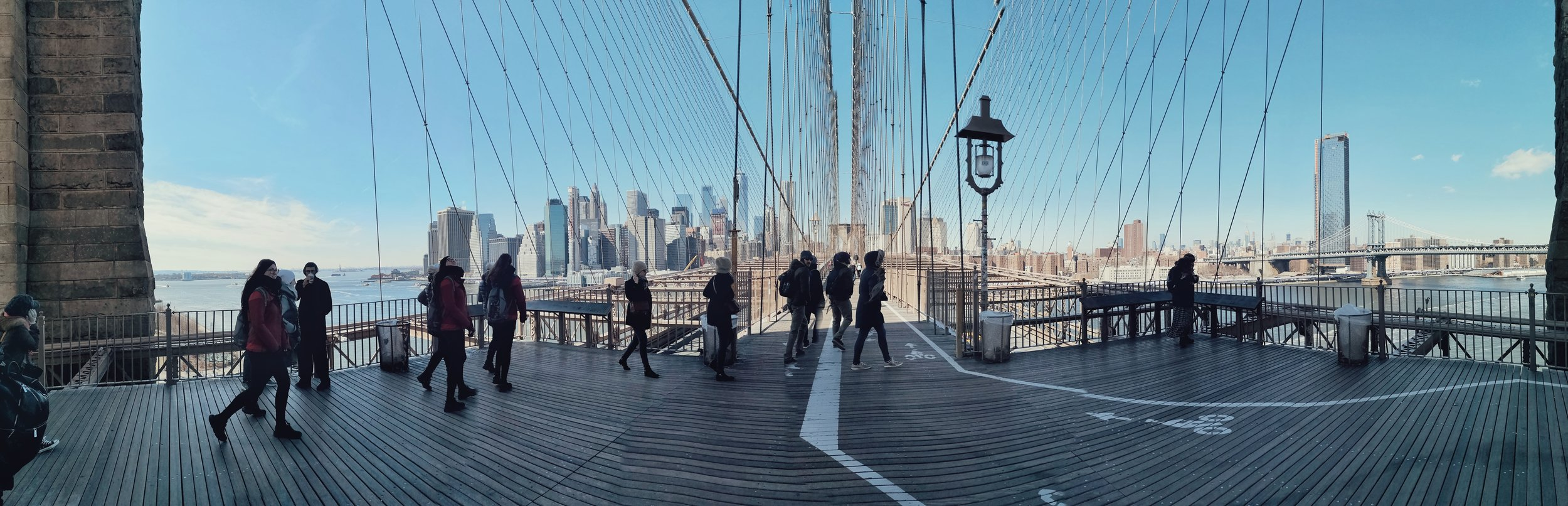 panoramic view of Manhattan from brooklyn bridge