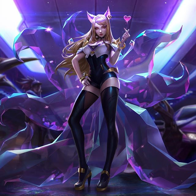 K/DA - POP/STAR AHRI - Splash  Teamed up with @chengweipan_art @chenbowow to create these splashes! Special thanks to @newmilky for the feedback on this one!  Swipe to see line-art and process. The exploration poses ended up helping to inform the music video, which I'm super excited and flattered about! 👉  #KDA #ahri #kdaahri #popstarahri #Popstars #Skins #popstarskins #leagueoflegends #Lol #riot #riotgames #ritopls #worlds2018 #gidle #miyeon #soyeon #madisonbeer #jairaburns #fortiche #splash #splashart #riotillustration #alvinlee #alvinleeart