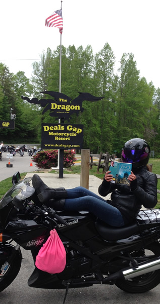 Jennifer -at-the-l of the Dragon route. The 318 curves in 11 miles.JPG