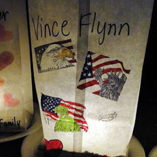 Luminaria For Vince at the Relay for Life Cancer Walk in Kasson, MN