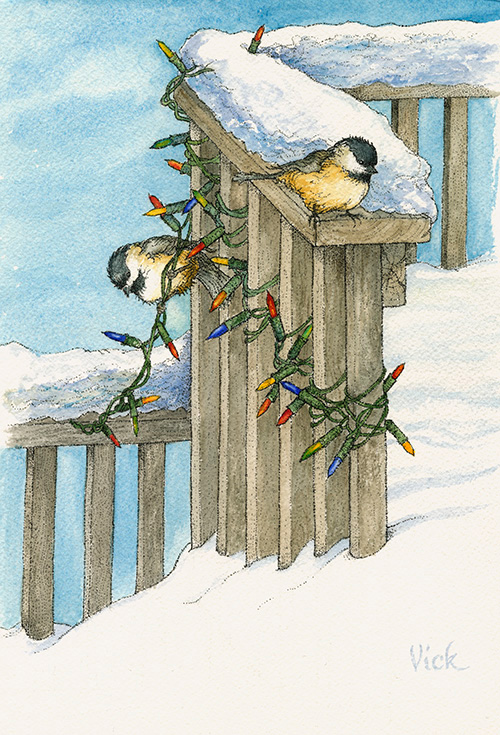 """Chickadee Light""  – I was sitting looking out of my kitchen window one snowy morning, delighted with the fresh snowfall. I love when my deck is buried and I need to get out the shovel! I had barely formed the thought, ""What should I paint today?"" (after shoveling) when two Chickadees fluttered down and began to hop on & about the Christmas lights I'd hung the day before. Message received!"