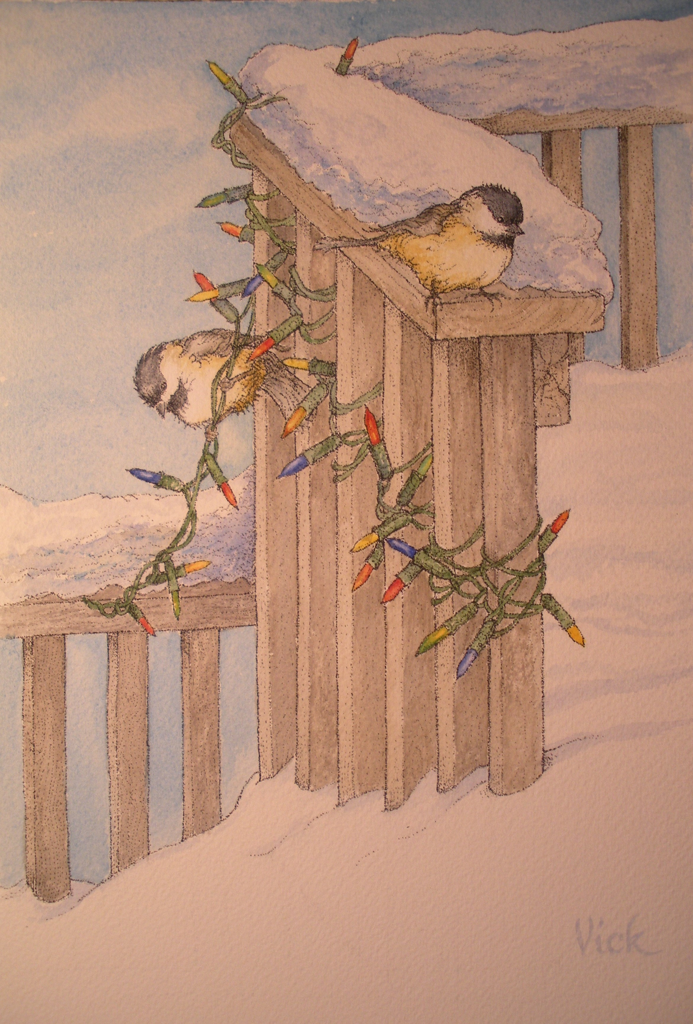"Chickadee Light - I was sitting looking out of my kitchen window one snowy morning, delighted with the fresh snowfall. I love when my deck is buried and I need to get out the shovel! I had barely formed the thought, ""What should I paint today?"" (after shoveling) when two Chickadees fluttered down and began to hop on & about the Christmas lights I'd hung the day before. Message received!"