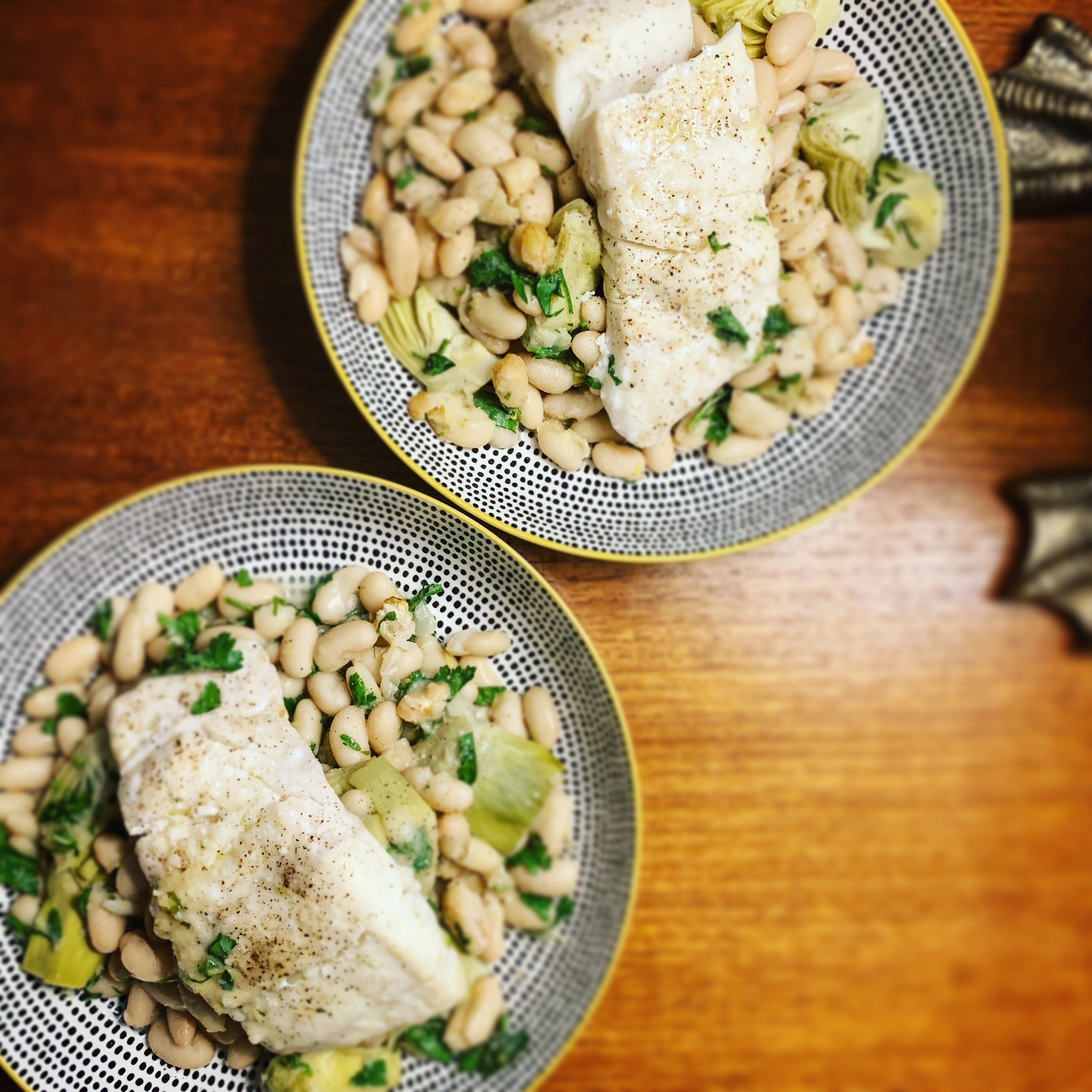 Haddock with Cannellini Beans and Artichokes