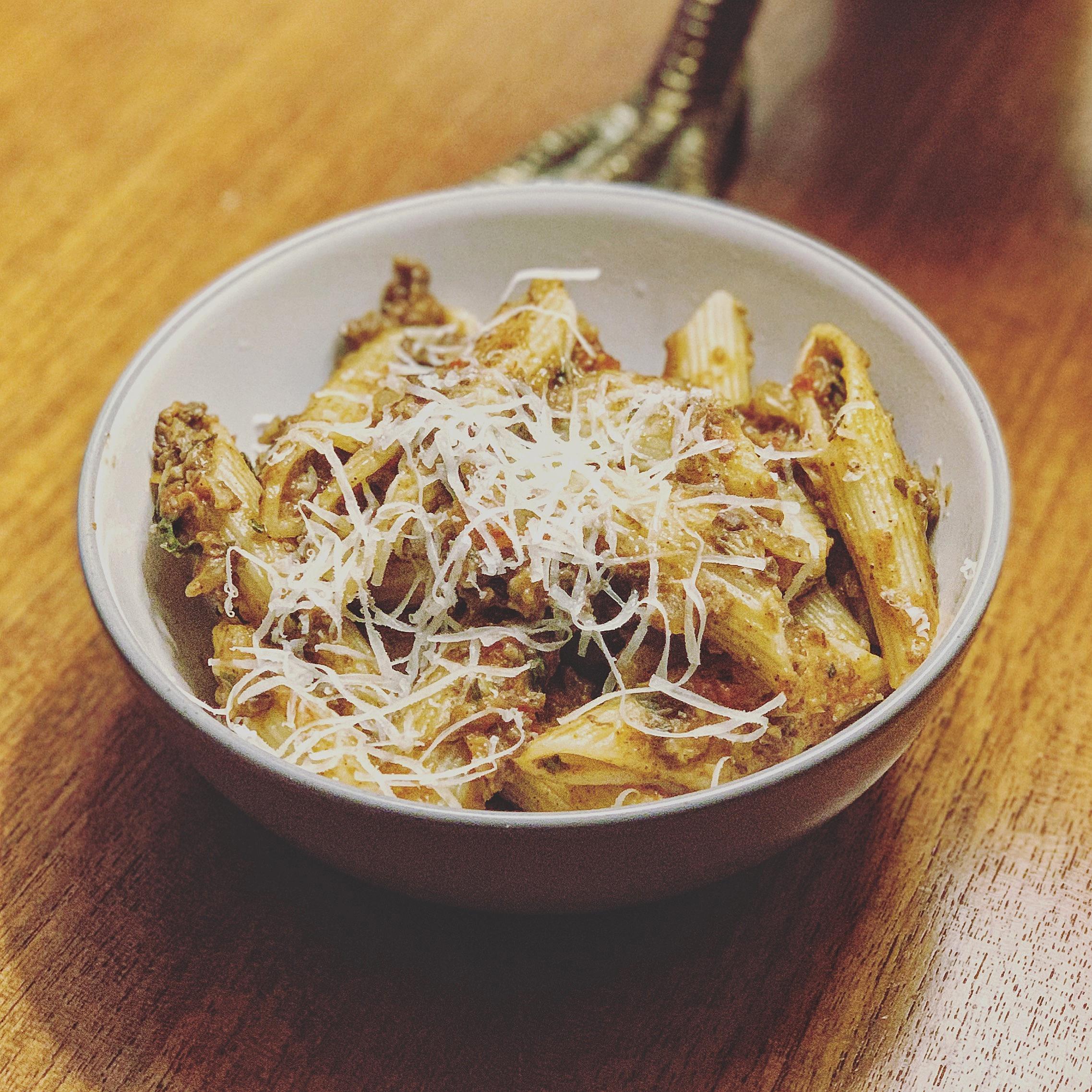 Spicy Haggis Pasta in Rich Tomato Basil Sauce.JPG