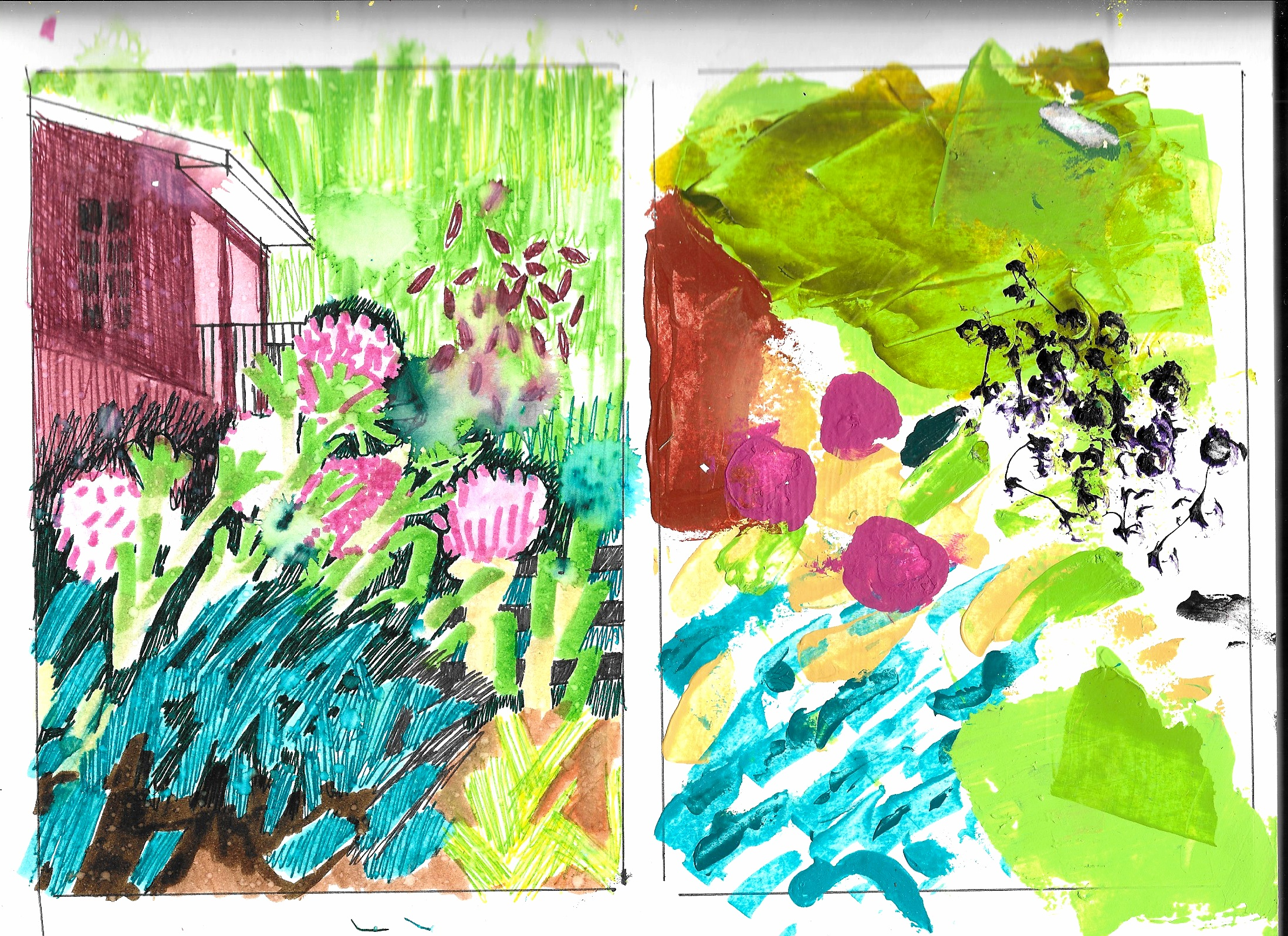 Thumbnail sketches for a painting of my parent's backyard.