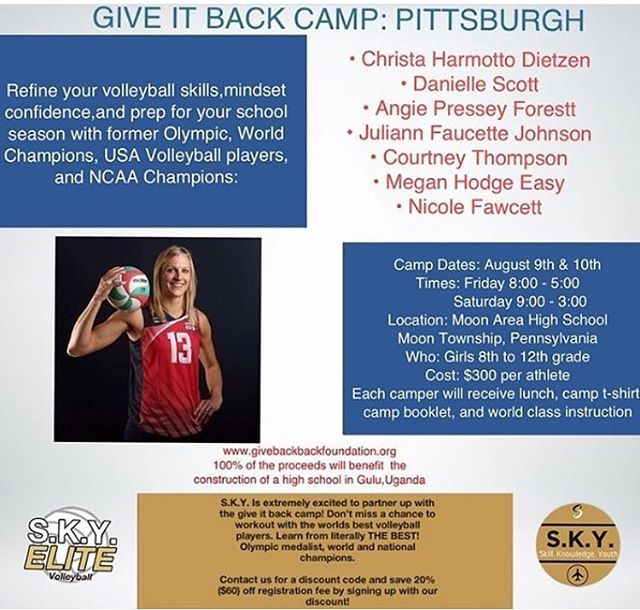 if you do any camp this summer, please consider this one in our own backyard! i personally grew up cheering for these amazing athletes. i would have given anything to learn from the ladies i looked up to as a player! 🏐