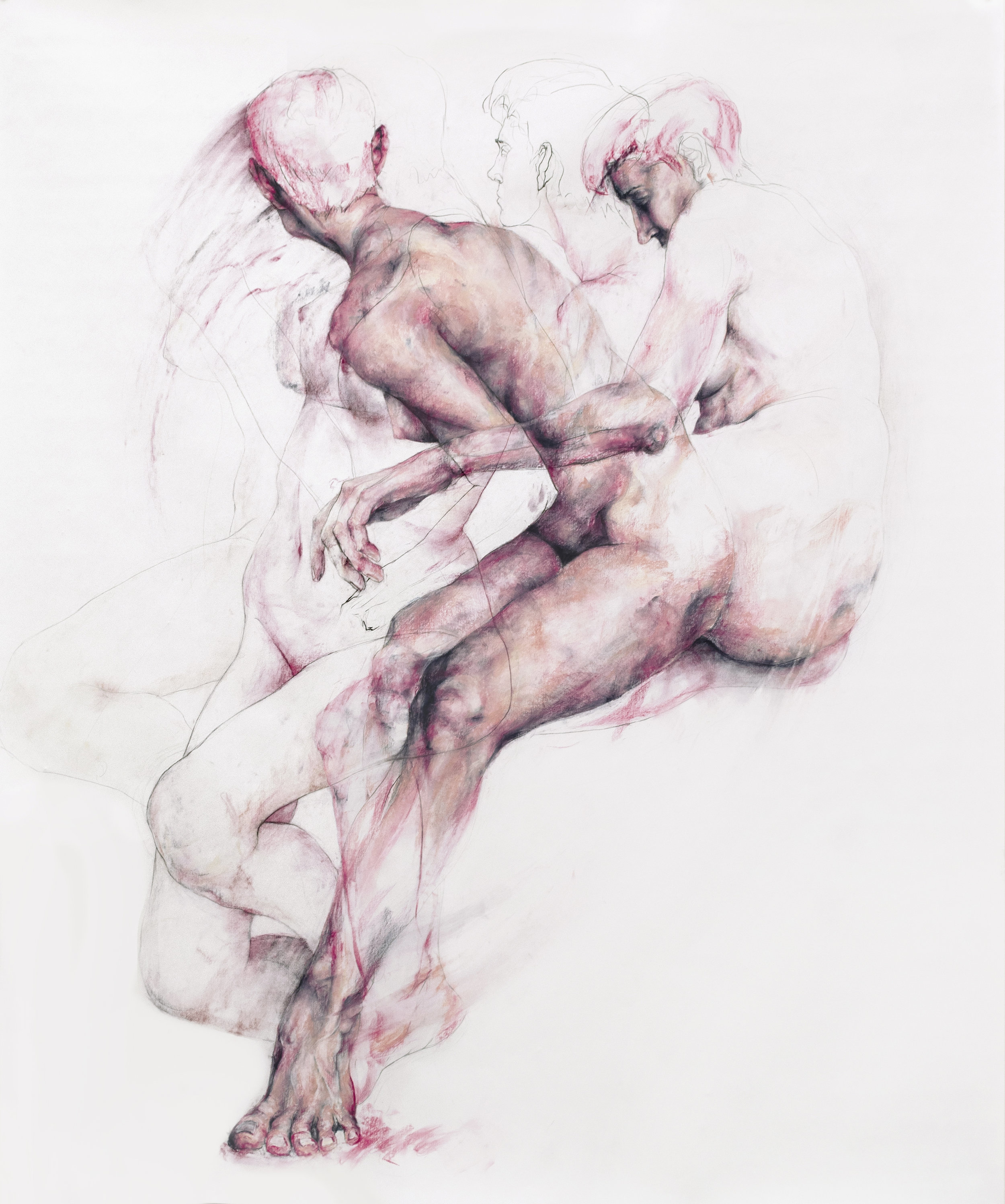 """gravitate / 2019 / charcoal and pastel / 74"""" x 60"""""""