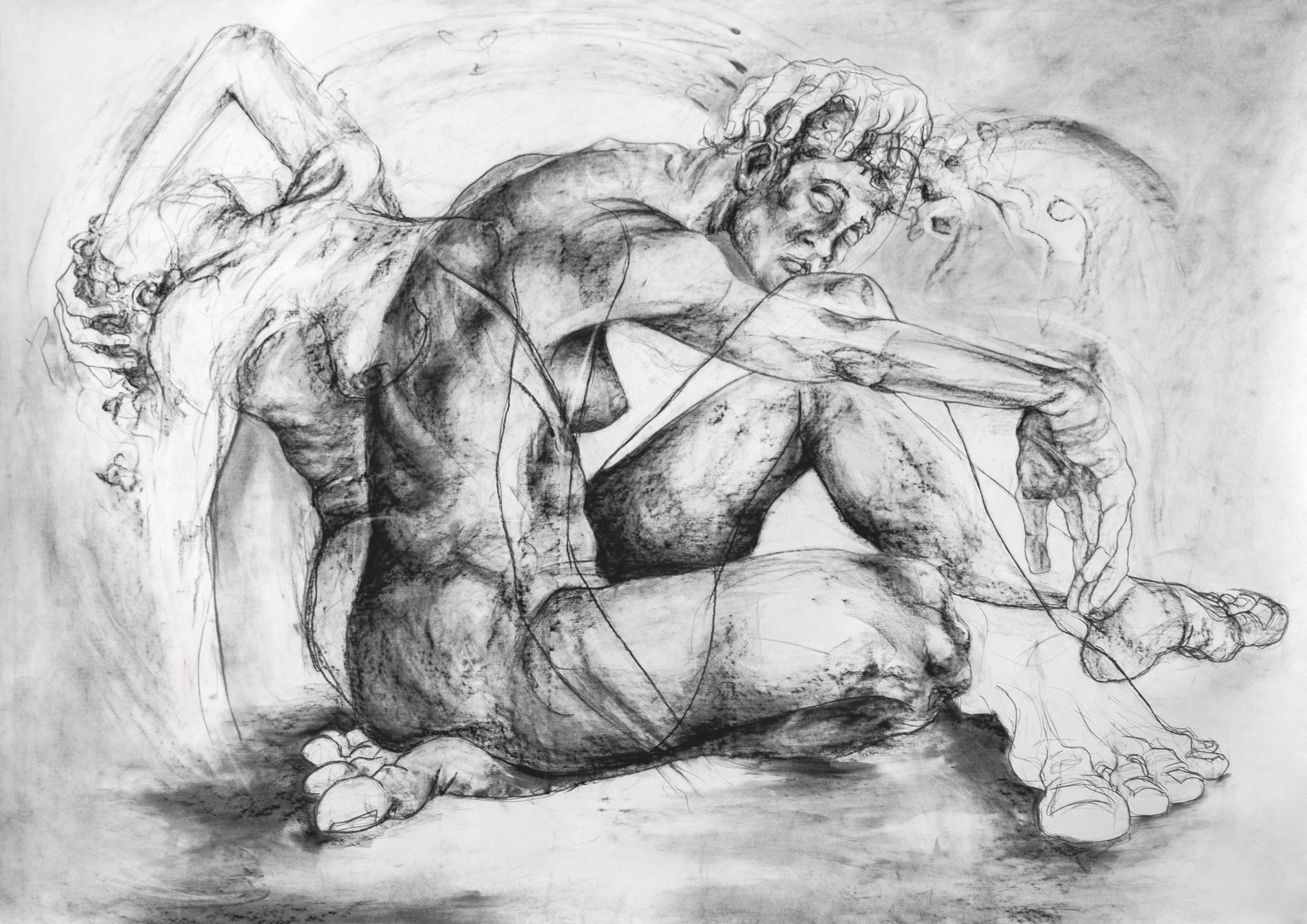 """a study of introspection / 2018 / charcoal / 48"""" x 67.75"""""""
