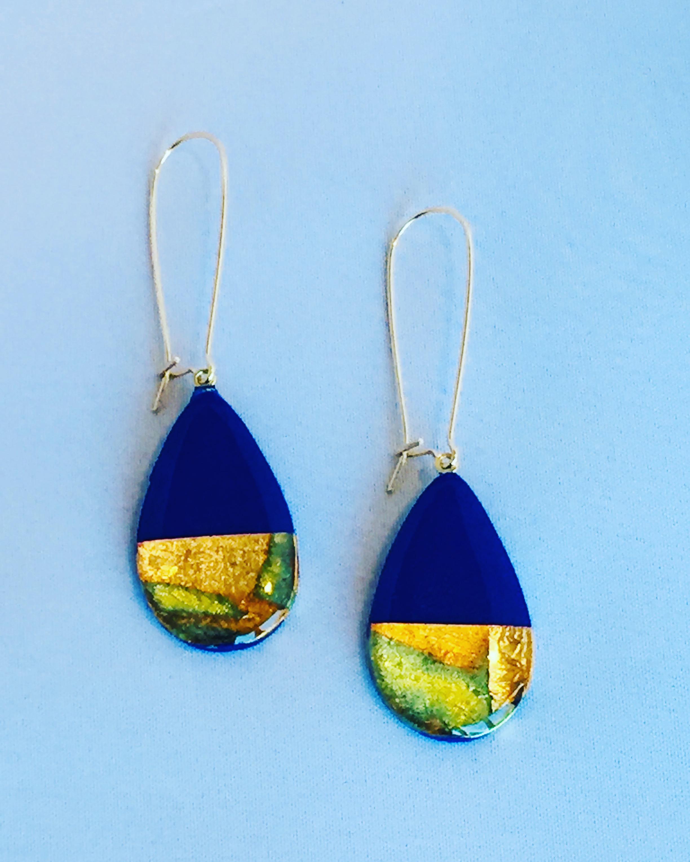Athena Teardrop Royal blue dangle earrings Peggy Pardon Jewelry.JPG