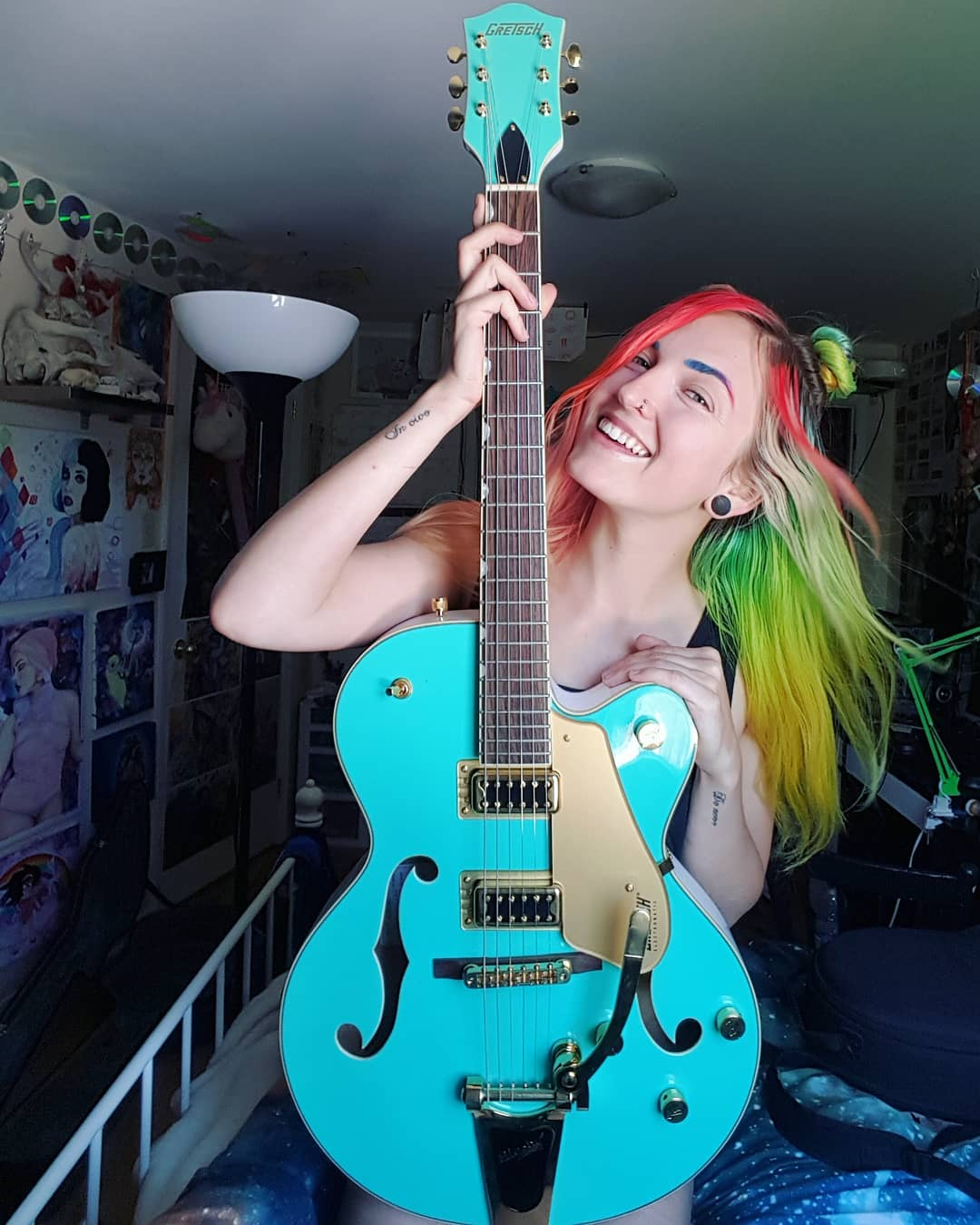 Alanna and her beautiful Gretsch Electromatic Hollow Body