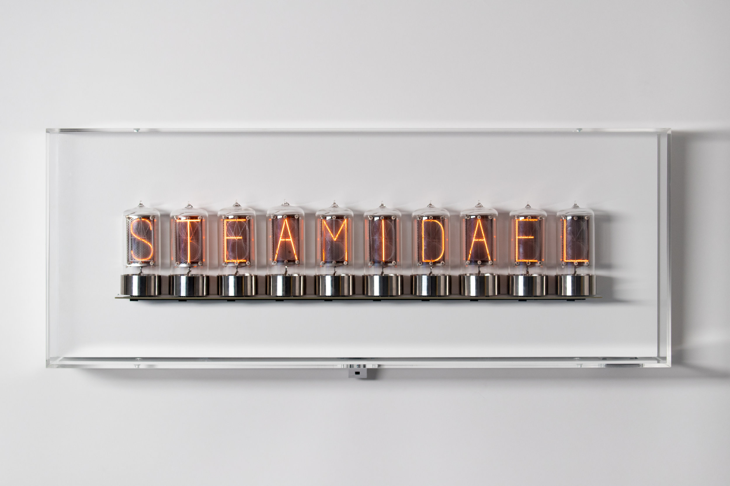 Dominic Harris, Simulated (10), 2017 8 + 2AP + 2P,Blown glass, stainless steel, acid-etched cathodes, dibond, aluminium, infrared acrylic, line-folded acrylic, time of flight sensors, bespoke electronics, 78 x 30 x 15 cm