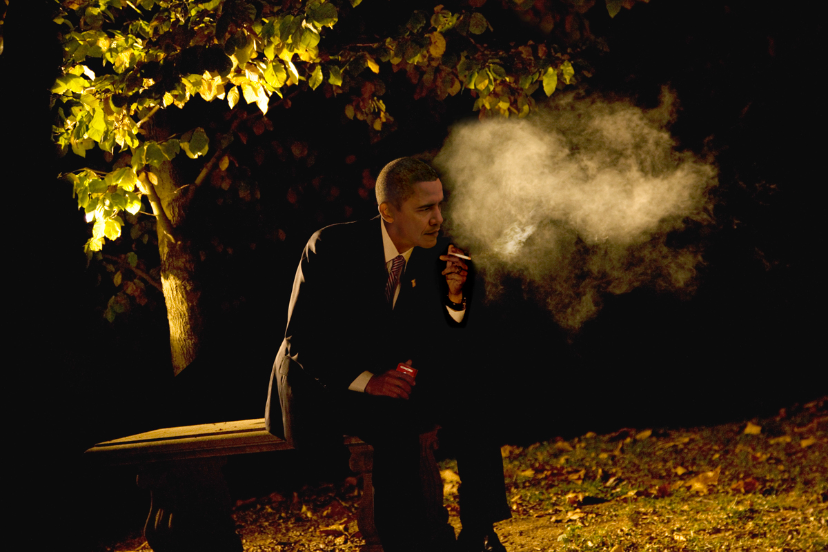 Alison Jackson,  Obama Smoking , 2015 C Type Archival Print, Framed: 33h x 45w in, Courtesy HG Contemporary